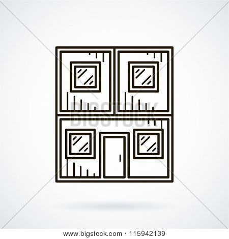 Black flat line vector icon office container on white background