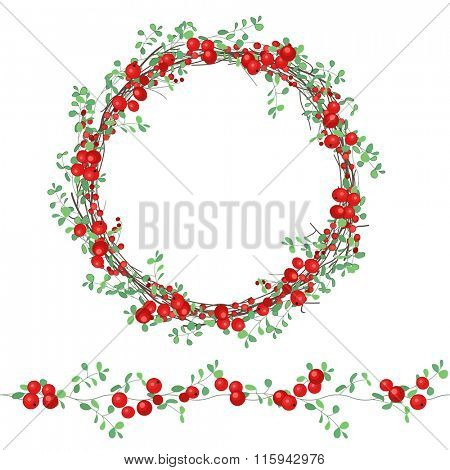 Round wreath with red berries isolated on white. For festive design, announcements, postcards, invitations, posters.