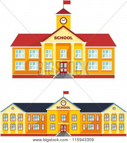 Set of classical school building isolated on white background. Vector illustration.