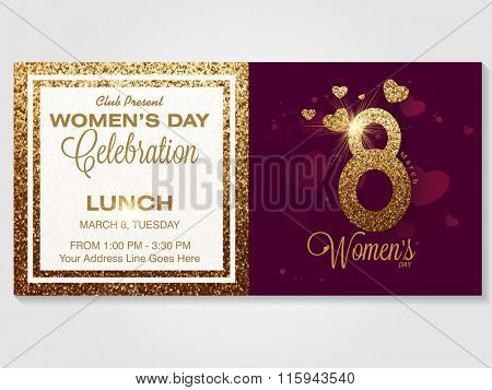 Elegant invitation card design with creative golden text 8 March for Happy Women's Day celebration.