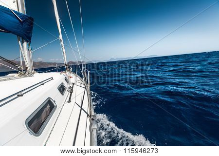 Boat sailing in the blue sea
