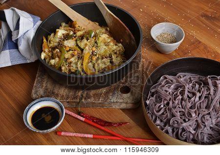 Black Rice Noodles With Stir Fried Vegetables & Sesame Seeds