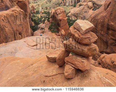 Cairn At Top Of Slickrock Fin