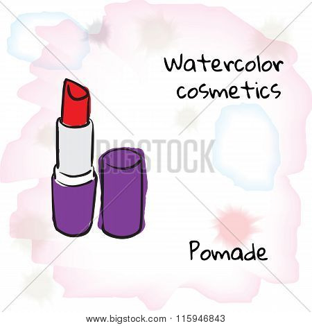 Watercolor Cosmetics. Watercolor Pomade On A Blurred Background