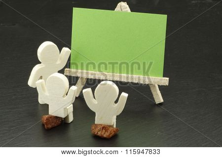 Cute characters with empty card