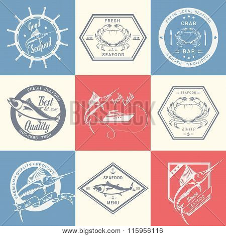 Vector Set Of Seafood Labels And Signs