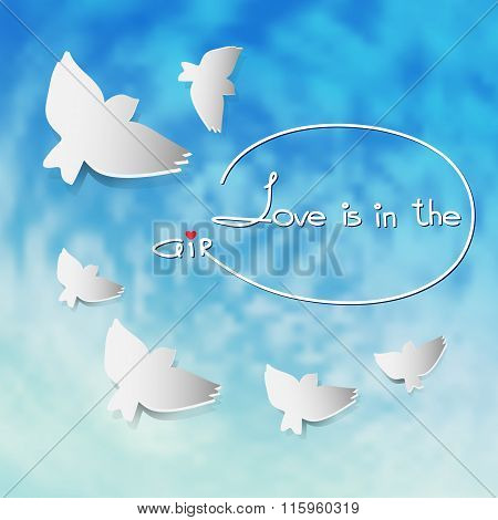 Vector illustration with silhouette white birds on blue sky background.