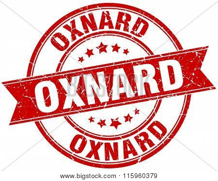 Oxnard red round grunge vintage ribbon stamp