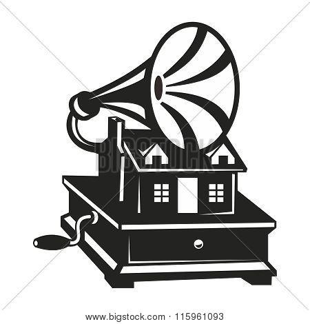Vector Vintage Black & White Gramophone Silhouette
