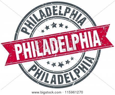 Philadelphia red round grunge vintage ribbon stamp