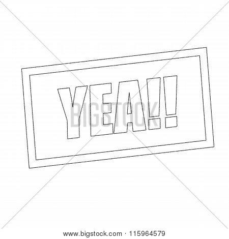 Yea Monochrome Stamp Text On White