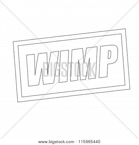 Wimp Monochrome Stamp Text On White