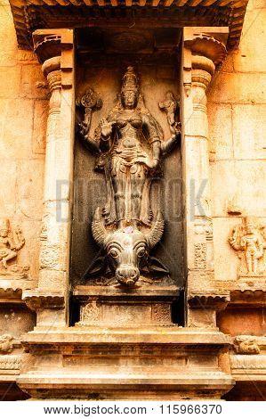 THANJAVUR January 25th, 2016 - Statue of Goddess Mahishasuramardini at Brihadeeswarar Temple