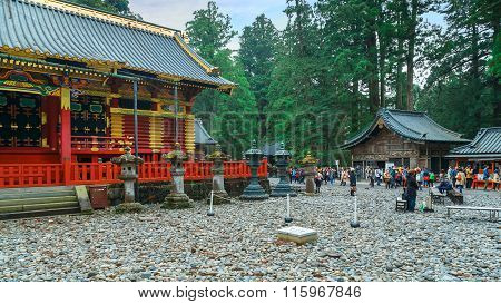 NIKKO, JAPAN - NOVEMBER 17, 2015: The final resting place of Tokugawa Ieyasu, the first Shogun of the Tokugawa clan, initially built in 1617. It's the most famous Toshogu shrine in Japan.