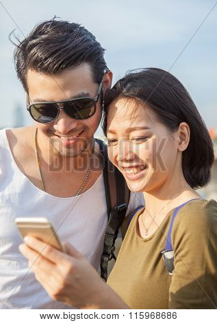 Close Up Face Of Younger Asian Man And Woman Looking To Smart Phone Use For Young People Digital Tec