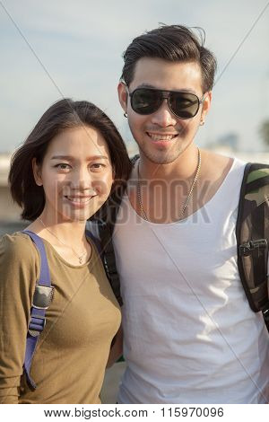 Portrait Couples Of Younger Asian Man And Woman Toothy Smile With Happiness Face