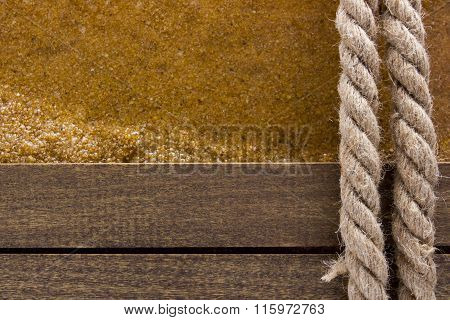 Berthing Rope On A Wooden Background