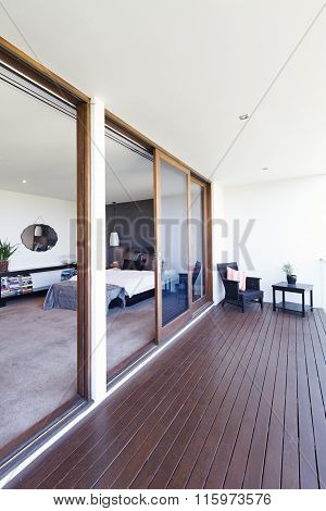 Master Bedroom And Balcony In Luxury Australian Home