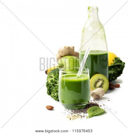 Healthy green smoothie and ingredients on white  - superfoods, detox, diet, health, vegetarian food concept poster