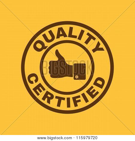 The certified quality and thumbs up icon.  Approval, approbation, certification, accepted symbol. Flat Vector illustration poster