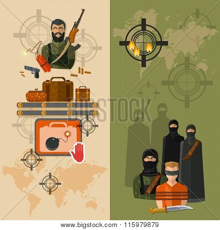 Terrorism Taking Of Hostages Global Terror Threat Vector Banners
