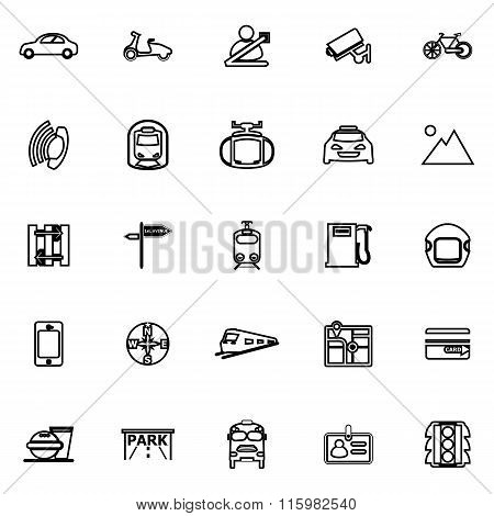 Land Transport Related Line Icons On White Background