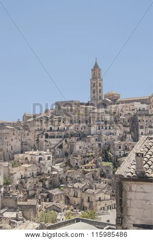 View Of The City Of Matera In Italy And The Typical Stones Or Sassi