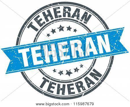 Teheran Blue Round Grunge Vintage Ribbon Stamp