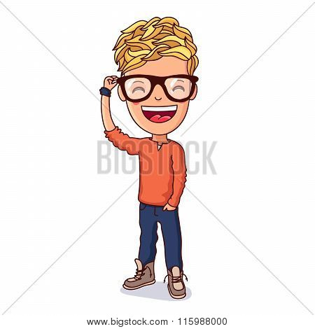 Kid With Glasses. Vector.