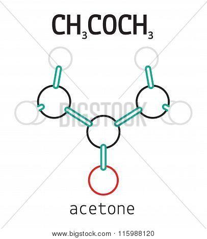 CH3COCH3 acetone molecule