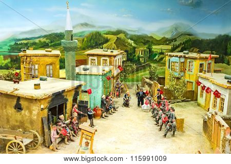 The Diorama Of The Celebration In Village