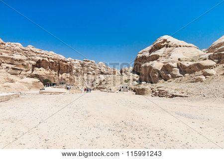 The Siq, the narrow slot-canyon that serves as the entrance passage to the hidden city of Petra, Jordan,
