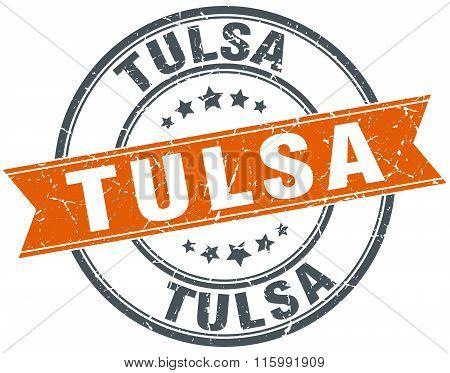 Tulsa orange round grunge vintage ribbon stamp