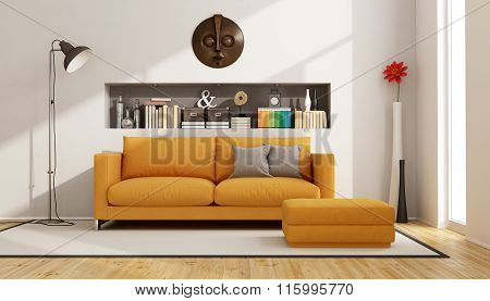 Living Room With Orange Sofa