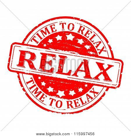 Damaged Round Red Stamped - Time For Relax, Relax - Vector