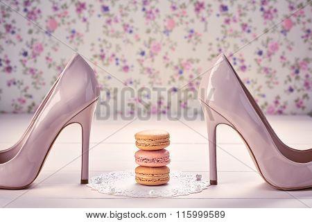 Woman essentials, fashion high heels. Macarons