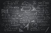 Mathematics sketches on blackboard poster