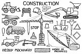 Construction and heavy machinery sketch. Hand-drawn cartoon industry icon set. Doodle drawing. Vector illustration. poster