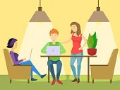 Coworking office flat style vector illustration. People in coworking center office poster