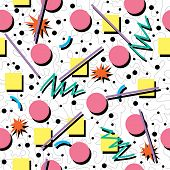 vector seamless 80s or 90s chaotic background pattern poster