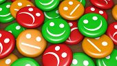 Business quality service customer feedback rating and survey with happy and not smiling face emoticon symbol and icon on badges button. poster