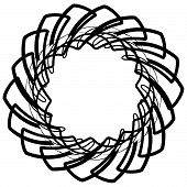 Monochrome spiral element with intersecting lines. Abstract vector shape. poster