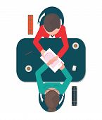 Top view of two business people shaking their hands on the table after agreement business successful partnership conceptual vector illustration. poster