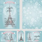 Wedding design template set.Winter, Christmas season.Eifel tower, falling snowflakes ornament, Paris.Holiday invitation cards, save date and RSVP, tag. Vector Illustration, decoration elements poster