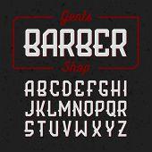 Gentlemans Barber Shop vintage style font. Vector. poster