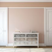 Interior of foyer with dresser near empty pink wall. 3d render. poster