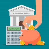 Pension fund concept vector illustration in flat style design. Finance investment and saving background with bank facade and money coins. poster