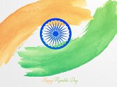 Smooth waves background. Colors of India. Republic Day 26 January vector design poster