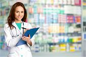 Medical retailing sickness clipboard pharmacist attractive pharmaceutical merchandise poster