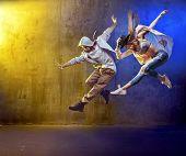 Sporty hip-hop dancers poster